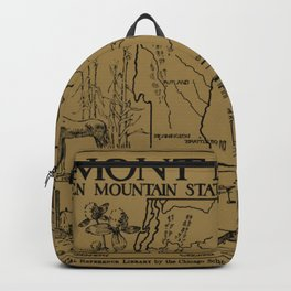 Vintage Map of Vermont and New Hampshire (1912) - Tan Backpack