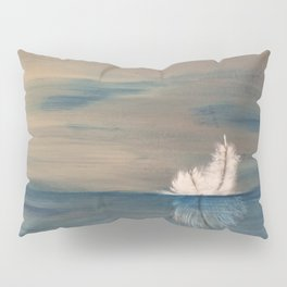 Floating Feather. Abstract Painting by Jodi Tomer. Abstract Feather on Water. Pillow Sham