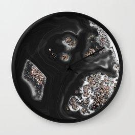 Black Malachite with Rose Gold Glitter #1 #shiny #gem #decor #art #society6 Wall Clock