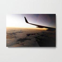 Airplane Wing Window Seat View of Horizon at Dusk Metal Print