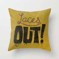 patriots Throw Pillows featuring Laces out! by Chris Piascik
