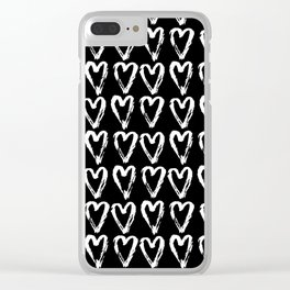 Black & White-Love Heart Pattern- Mix & Match with Simplicty of life Clear iPhone Case