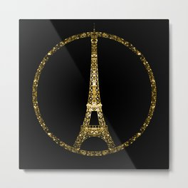 Eiffel Tower gold sparkles peace symbol Metal Print