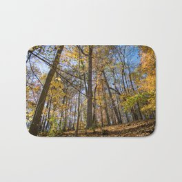 Golden Forest Leaves | Fall Autumn Nature Landscape Photography of Trees in Midwest Forest Bath Mat