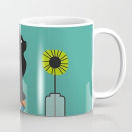 Cat, books and flowers Coffee Mug