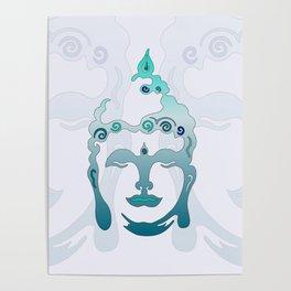 Buddha Head turquoise II Poster