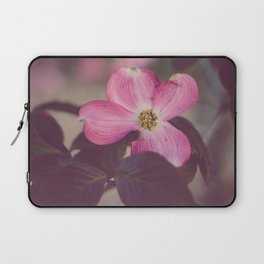 Pink Dogwood and Leaves Laptop Sleeve
