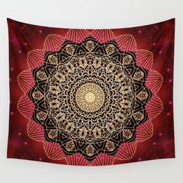 Boho chic Red Gold Mandala Wall Tapestry