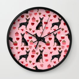 Miniature Doberman Pinscher valentines day cupcakes hearts pure breed dog gifts Wall Clock