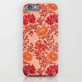 William Morris Chrysanthemums, Coral Orange iPhone Case