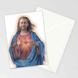 Nicolas Cage as Jesus   Funny Meme   Nic Cage Face   Gift For Men, Woman Stationery Cards