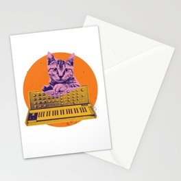 Retro Cat playing on Synth Stationery Cards