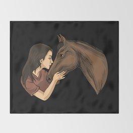 Girl Kissing A Horse Throw Blanket