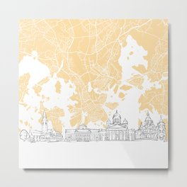 Helsinki Finland Skyline Map Metal Print