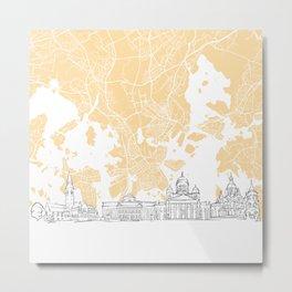 Helsinki Finland Skyline Map Metal Print