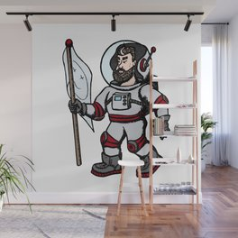 Modern astronaut creative vector illustration. Man with flag in universe. Cosmos space travel on the Wall Mural
