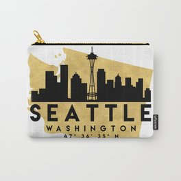 SEATTLE WASHINGTON SILHOUETTE SKYLINE MAP ART Carry-All Pouch