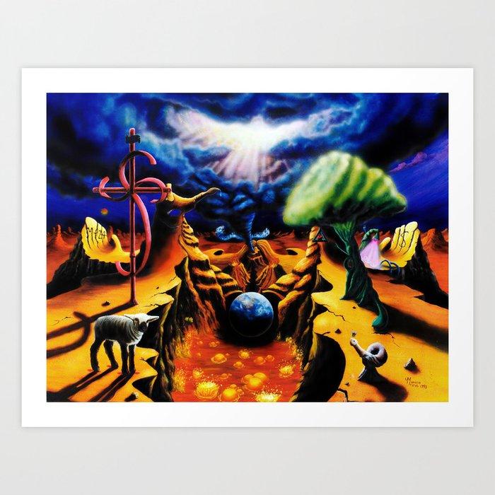 Trippy Psychedelic Surreal Art  - Birth Pangs by VIncent Monaco Kunstdrucke