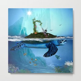 Fantasy turtle in the sea with fairy and bird Metal Print