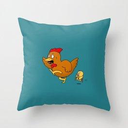 Running Hen (Back To School) Throw Pillow