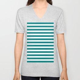 Horizontal Stripes (Teal/White) Unisex V-Neck