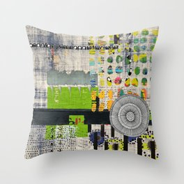 Lime & Navy Abstract Art Collage Throw Pillow