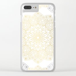 Gold Silver Mandala Pattern Illustration Clear iPhone Case