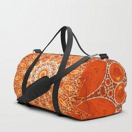 Detailed Orange Boho Mandala Duffle Bag