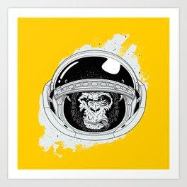 Monkey in white space Art Print
