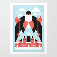 king Art Prints featuring King of the Mountain by Chase Kunz