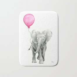 Baby Elephant with Pink Balloon Bath Mat