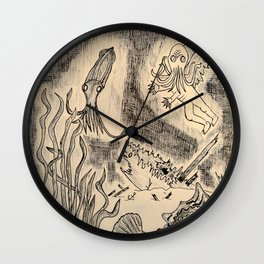 Parchment Sea  Wall Clock