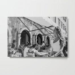 European classic street life and an outdoor cafe Metal Print