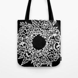 White Linocut Flowery Wreath On Black Tote Bag