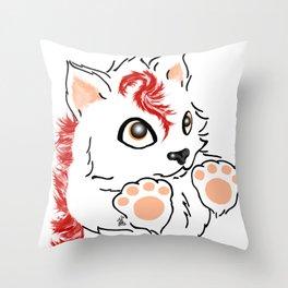Snowfox - red Throw Pillow