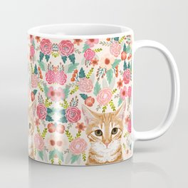Tabby Cat florals cute spring garden kitten orange tabby cat lady funny girly cat art pet gifts  Coffee Mug
