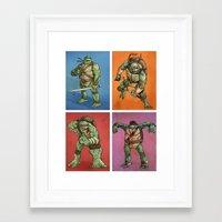 teenage mutant ninja turtles Framed Art Prints featuring Teenage Mutant Ninja Turtles by Alex Santaló