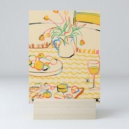 YELLOW TULIPS, WINE AND CHEESE Mini Art Print
