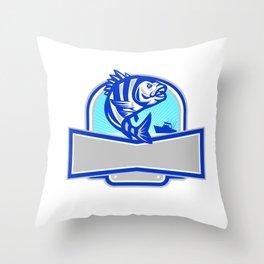 Sheepshead Fish Jumping Fishing Boat Banner Retro Throw Pillow