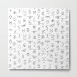 Insects pattern (White) Metal Print
