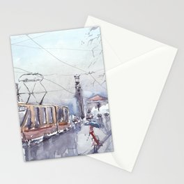 Rain in city Stationery Cards