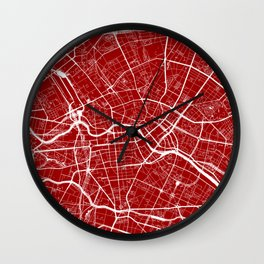 Red City Map of Berlin, Germany Wall Clock