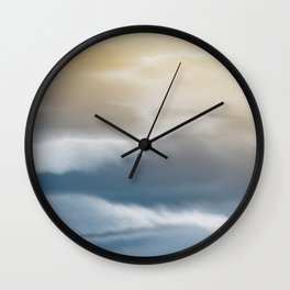 Abstract, Watercolor, Aesthetic, Wave and Clouds Print, Blue and Yellow Wall Clock