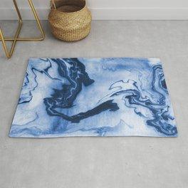 Chiharu - spilled ink marble paper marbling texture swirl indigo water ocean nature pool wave tide Rug