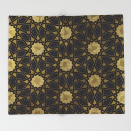 Islamic decorative pattern with golden artistic texture Throw Blanket