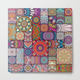Boho Patchwork Quilt Pattern 2 Metal Print