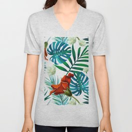 Tropical Leaves and flowers Unisex V-Neck