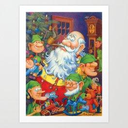 Santa & Elves in Workshop Art Print