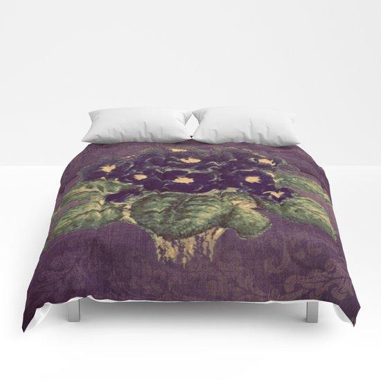 Violettes on vintage purple distressed damask Comforters