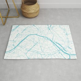 Paris France Minimal Street Map - Turquoise Blue and White Rug